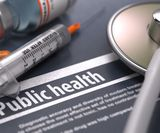 Public Health. Medical Concept with Blurred Text, Stethoscope, Pills a